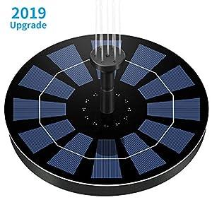 Ankway Bomba de Agua Solar para Fuente Respaldo de batería incorporada (versión 2019), Kit de Bomba Sumergible con 6 boquillas para Libre Baño de Aves, Estanque, Piscina, Patio,Decoración del Jardín