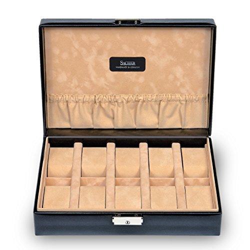 SACHER Uhrenetui für 10 Uhren/New Classic/schwarz / Echt Leder/Handmade in Germany/Schmuckaufbewahrung