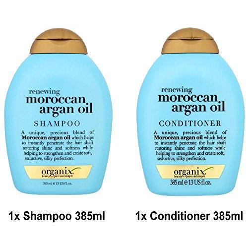 ogx® (anciennement Organix) Renewing Argan Oil of Morocco Shampoing 385 ml + après-shampoing/chasse 385 ml – Style professionnel, Shampoing et après-shampoing Cheveux en les États-Unis