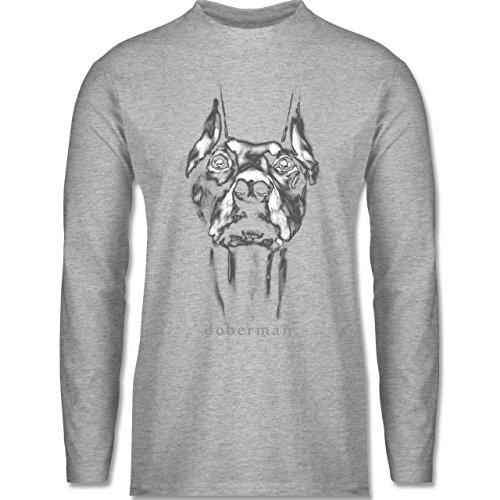 Shirtracer Hunde - Doberman - Herren Langarmshirt Grau Meliert