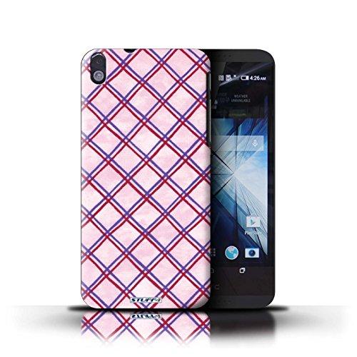 Kobalt® Imprimé Etui / Coque pour HTC Desire 816 / Vert/Bleu conception / Série Motif Entrecroisé Violet/Rouge
