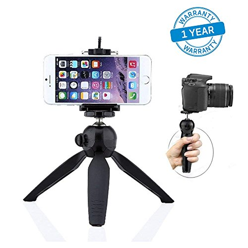Azacus Mini Tripod Stand Universal Mobile Holder Mount Clip for Digital, DSLR Camera, iPhone, Android Smartphones with Selfie Stick (Black)