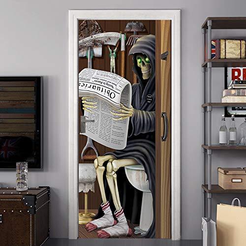 Mt081 Halloween Lesen Zeitung Tür Aufkleber Glasfenster Aufkleber Kreative Party Holztür Renovierung - Zeitung Kostüm Kinder
