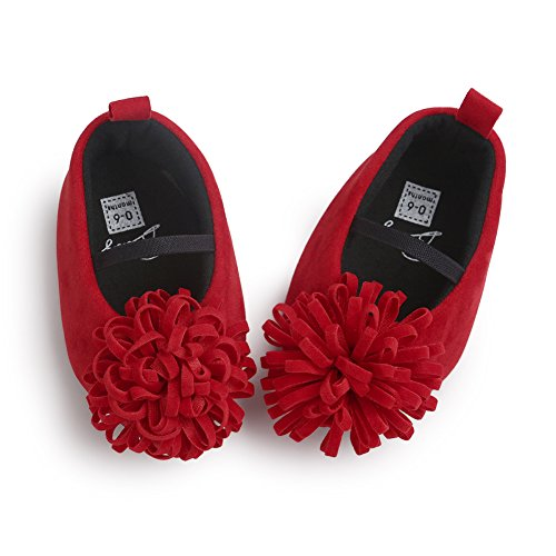 Baby Girl First Walker Princess Flower Soft Soled Anti-Slip Crib Mary Jane Shoes Point Toe Red