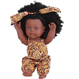 AmaMary African American Baby Doll, Cute Lifelike 12 Inch Afro Hair African Doll (orange)