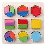 Juguetes del bebé,Niños bebé de Madera Geometría Bloques de Construcción Puzzle Aprendizaje temprano Juguete Educativo LMMVP (15*15*0.5cm, C)