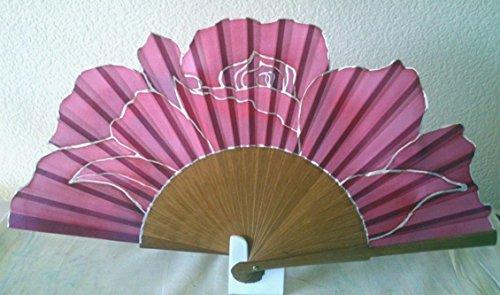 Abanico de seda natural pintado a mano'Rosa completa'