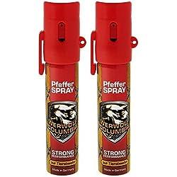 2 x Werwolf Columbia Pfefferspray hochdosiertes Verteidigungsspray Made in Germany - Spray zur Selbstverteidigung bei Tierattacken