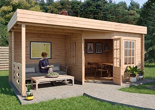 Alpholz Gartenhaus Hanna aus Massiv-Holz | Gerätehaus mit 40 mm Wandstärke | Garten Holzhaus inklusive Montagematerial | Geräteschuppen Größe: 598 x 302 cm | Flachdach
