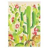 SHUNSHUNML Japanischer Vorhang Pflanzenserie Frischer Kaktus Vorhang Wohnzimmer Trennwand Vorhang Vorhang Baumwolle Und Leinen Dekoration Haus Feng Shui Vorhang Benutzerdefinierte Karte 85 × 120 cm