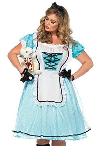 Avenue 7 Kostüm - Leg Avenue 85597X 7X 2 teilig Set Tea Time Alice, Damen Karneval Kostüm Fasching, 3X-4X, blau/weiß