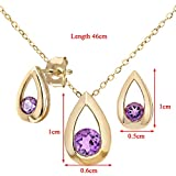 Citerna 9 ct Yellow Gold 0.40 ct Amethyst Teardrop Earrings and Pendant Set Bild 1
