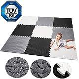 Bunao krabbeldecke wasserdicht Teppich Kinder Matte für Baby Puzzle Boden matten Play Gym puzzlematten spielmatten Schaum puzzlematte Kleinkind Schaumstoff weiß schwarz grau (Type9)