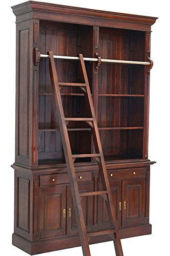 Moreko Bibliothek mit Anlegeleiter Bücher-Schrank Antik-Stil Bücherregal Mahagoni -