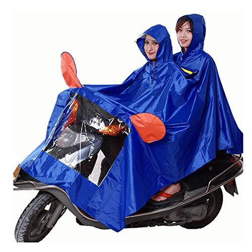OLDJTK Huahai Motorrad Elektroauto Reiten Poncho männlichen wasserdicht Erwachsenen weiblichen Anstieg dicken Doppelregenmantel (Farbe : Himmelblau, größe : XXXL)