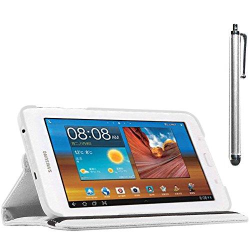 ebestStar - compatibel Samsung Galaxy Tab 3 Lite 7.0 Hülle SM-T110, VE SM-T113 Rotierend Schutzhülle Etui, Schutz Hülle Ständer, Rotating Case Cover Stand +Stift, Weiss [Tab: 193.4x116.4x9.7mm 7.0