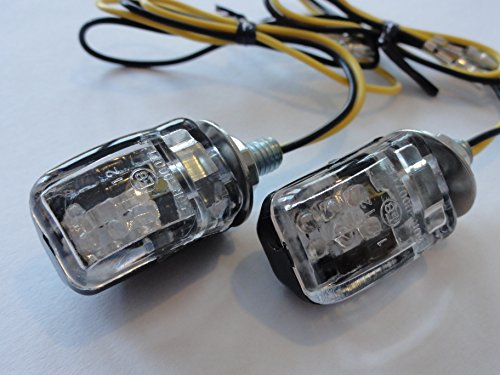 MaMor Motorrad Mini Blinker LED schwarz klar E-geprüft M6 für z.B. Honda, Yamaha, Suzuki, Aprilia, Harley, BMW, Kawasaki