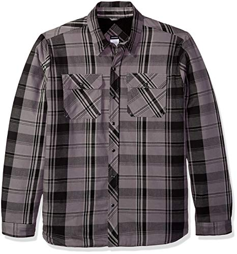 Dickies Herren Modern Fit Snap Front Shirt Jacket Jacke, Smoke Charcoal Plaid, 2X Snap-front-jacke