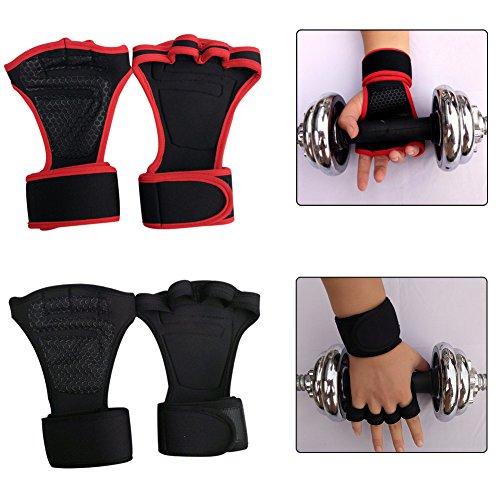 Terzsl guanto uomo donna palestra fitness sollevamento pesi mezze dita antiscivolo guanto con polsino - rosso m, nero, m