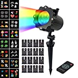 LED Projector Light,Sundlight 16PCS Replaceable Patterns Projector Snowflake Spotlight with Remote Controller Garden Landscape Lawn LED for Christmas,Halloween,Party