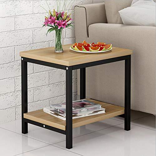 Xiaolin Wohnzimmer Couchtisch Sofa Beistelltisch Schlafzimmer Stahl Holz Nachttisch Moving Double Layer Eisen Kunst Computer Schreibtisch (Farbe : 02)