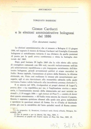 Giosue Carducci e le elezioni amministrative bolognesi del 1886.