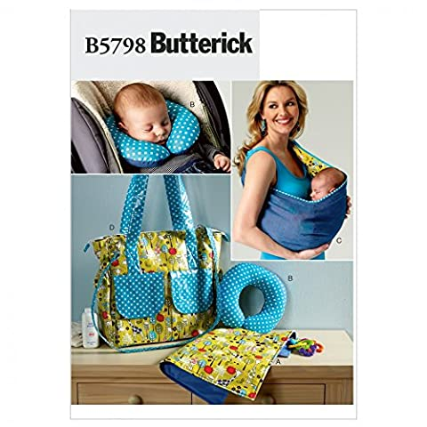 Butterick Baby Easy Sewing Pattern 5798 - Changing Pad, Neck Support, Carrier & Diaper Bag