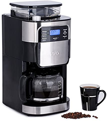 Vivo © 1.5L Bean to Cup Digital Stainless Steel Filter Coffee Maker Machine With Integrated Grinder Barista