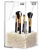 PuTwo Makeup Bürstenhalter Staubdicht Aufbewahrungsbox Premium Qualität 5mm dick Acryl Make-up Veranstalter, weiße Perle, groß, 59,97 Ounce