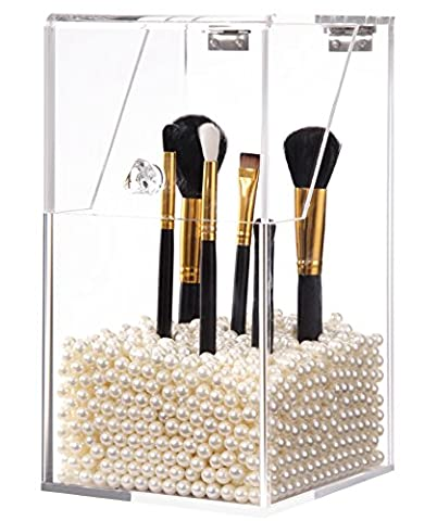 PuTwo Makeup Brush Holder Dustproof Storage Box Premium Quality 5mm Thick Acrylic Makeup Organizer, White Pearl, Large, 59.97 Ounce