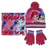 Shimmer and Shine Set 3pezzi Cappello con Pon Pon Scaldacollo Guanti Invernale Bambina Taglia Unica 3-8anni