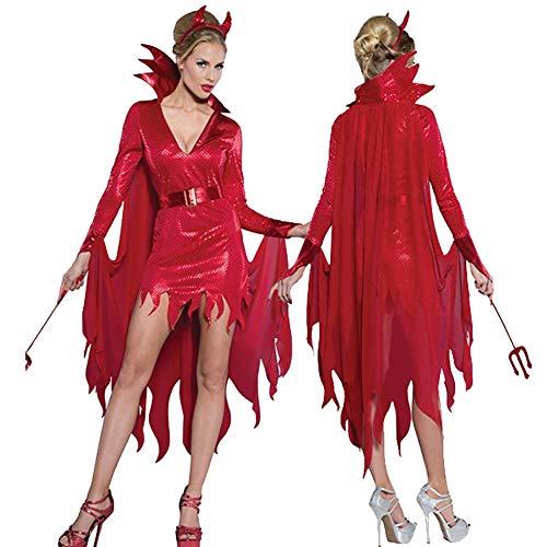 Story of life Sexy Engel Teufel Kostüme Frauen Damen Halloween Geisterbraut Hexe Dämon Vampir Spiel Uniform Kostüm Party Kleid,Red,M (Mittelalterliches Bankett Kostüm)