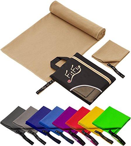 Fit-Flip Set: 70x140cm + 30x50cm + Tasche/Sand, Microfaser handtücher für Hunde Microfaser handtücher Fitness Microfaser handtücher für Kinder Microfaser handtücher fußball
