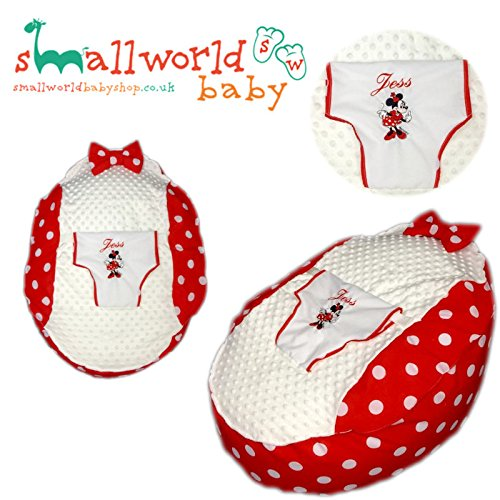 personalisierbar rot Polka Dot Minnie Maus Baby Sitzsack