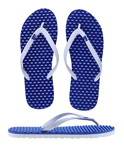 SOULS Australian Thongs Zehentrenner Unisex Comfort Massage Sohle 'Barrier Reef Blue' Sandale, Größe:44/45 (Blue Comfort-clogs)
