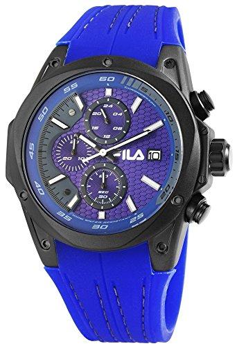 FILA Herrenuhr mit Silikonarmband Blau Schwarz Chronograph Sportlich Modern 10 ATM Wasserdicht Datum Stoppfunktion