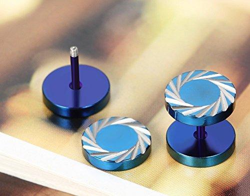 Flongo 10mm Boucles d'Oreilles Acier Inoxydable Clous Oreilles Motif Varié Piercing Percé Fantaisie Bijoux Cadeau Couleur Bleu Noir pour Homme i
