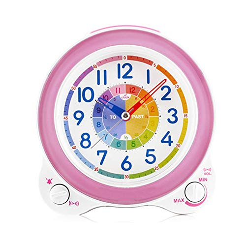 Einstellbare Lautstärke Kinder erkennen Quarzuhr Home Schlafzimmer Bett Snooze Wake Up Clock Harz Nachtlicht Uhr (Color : Pink)