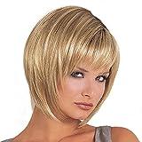 Fleurapance Perruques Femme Courte Blondes Naturelles Bob Droit Cheveux Doré Synthétiques à Frange Résistant à La Chaleur Similaire Aux Cheveux Réels Perruque