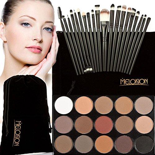 Tonsee 15 Couleur Fard à paupières+ 20 Pcs 20 pièces maquillage brosses Concealer Shadow de poudre pour le visage (Noir+Noir)