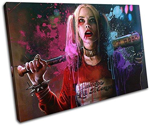 (Bold Bloc Design - Harley Quinn Suicide Squad Movie Greats 120x80cm SINGLE Leinwand Kunstdruck Box gerahmte Bild Wand hangen - handgefertigt In Grossbritannien - gerahmt und bereit zum Aufhangen - Canvas Art Print)
