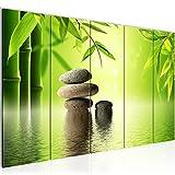 Bilder Feng Shui Steine Wandbild 200 x 80 cm Vlies - Leinwand Bild XXL Format Wandbilder Wohnzimmer Wohnung Deko Kunstdrucke Grün 5 Teilig - MADE IN GERMANY - Fertig zum Aufhängen 501955a