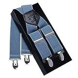 Herren Hosenträger 4 Clips KANGDAI Echtes Leder Klammern X Rücken Durable Wide Elastic Straps Hosenträger für Hosen (Blau)