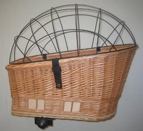 Tigana Hundefahrradkorb für den Gepäckträger aus Weide 60 x 39 cm