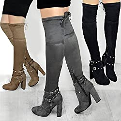 fashion thirsty womens ladies thigh high boots studded strap over the knee party block heel size - 51 2Bycn 2BMaIL - Fashion Thirsty Womens Ladies Thigh High Boots Studded Strap Over The Knee Party Block Heel Size