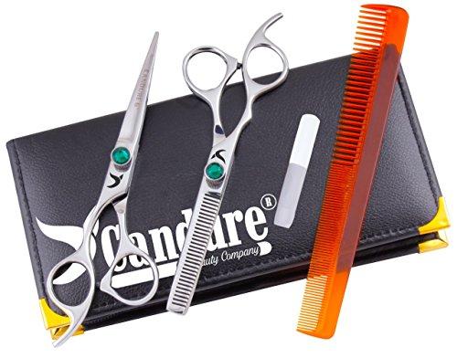 CANDURE – Linkshänder Geschenkset Friseur & Dünner Werdendes Haar-Schere Friseur Schere + Scheren Tasche, Grün Set