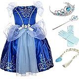 YOGLY Mädchen Prinzessin Elsa Kleid Kostüm Eisprinzessin Set aus Diadem, Handschuhe, Zauberstab, Größe 140,  11 Kleid und Zubehör
