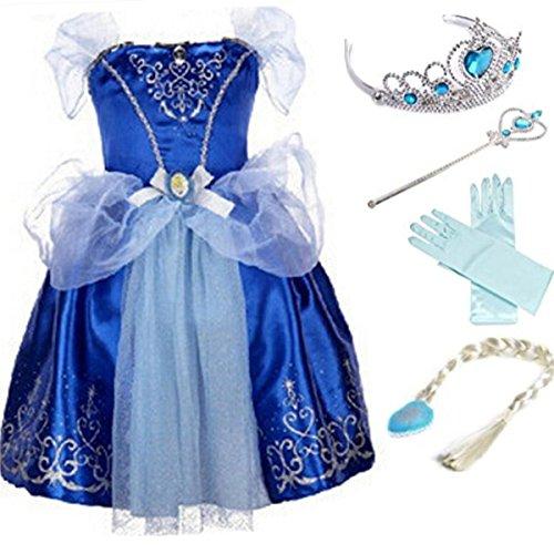 YOGLY Mädchen Prinzessin Elsa Kleid Kostüm Eisprinzessin Set aus Diadem, Handschuhe, Zauberstab, Größe 110,  11 Kleid und Zubehör