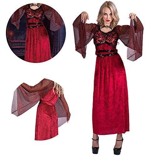 Risilays abbigliamento donna di halloween, abito da donna di bellezza, gonna di bellezza vampiro, scary evil strega spettacolo teatrale costume vestito mascherato vestito operato (rosso),red,m