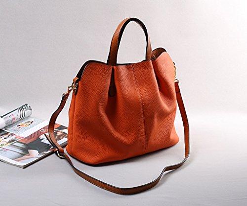 Lederhandtaschen-Kurier-Beutel-Schulter-Beutel-Schulter-Beutel-Leder-Paket ( farbe : Orange ) Orange